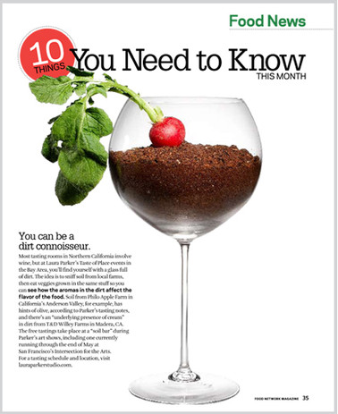 """To illustrate an item about winemakersusing specific types of dirt toinfuse their grapes with different flavors,  I came up with the idea to shoot a wine glass filled with dirt with a radish """"garnish""""."""