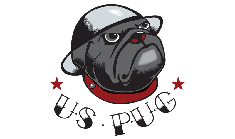 "Illustration Military Pug ""tattoo"""