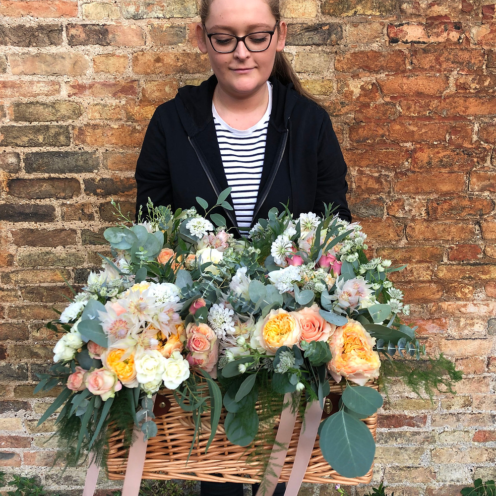 Basket of bouquets made by Kerry for a September wedding