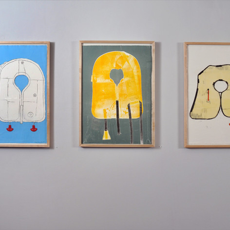 (Left) Jerk to Inflate  Monoprint 24 x 33 in   (Center) Inflatable 2  Monoprint 24 x 33 in   (Right) Inflatable 1  Monoprint 24 x 33 in   2017