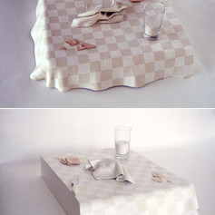 White Checkered Tablecloth