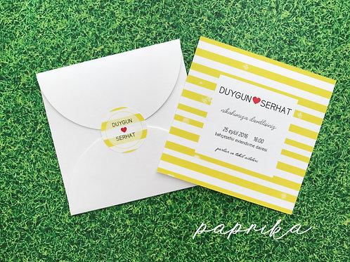 sarı beyaz düğün davetiyesi