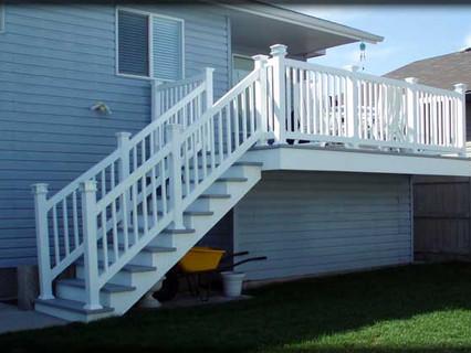 Deck, Railing and Solar Lights