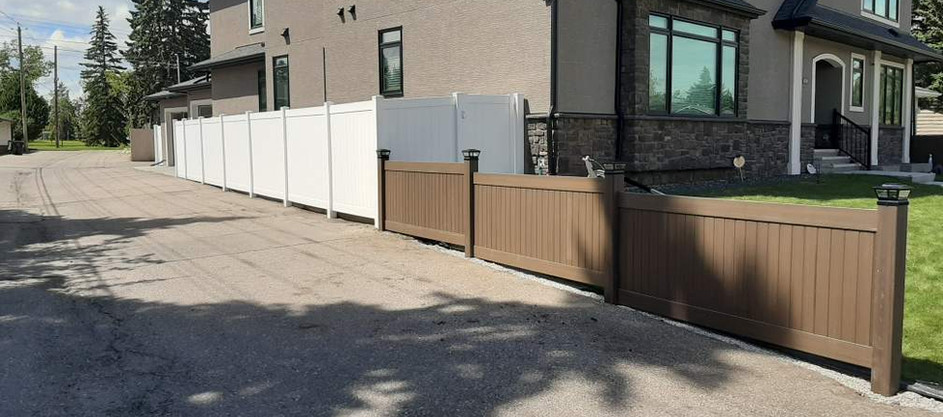 6ft White Privacy and Chestnut Brown
