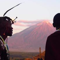 Maasai community in front of the Ol Doinyo Lengai vocano near the Maasai Giraffe Eco lodge