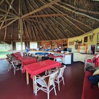 The restaurant at the Maasai Giraffe Eco Lodge with view on the Ol Doinyo Lengai volcano