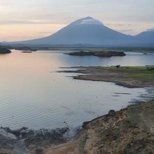 Lake Natron and Ol Doinyo Lengai volcano near the Maasai Giraffe Eco Lodge in North Tanzania