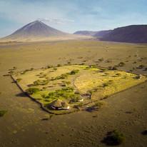 Aerian view of the Maasai Giraffe Eco Lodge, Lake Natron, Tanzania