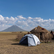 Camping at the Maasai Giraffe Eco Lodge facing the Ol Doinyo Lengai volcano