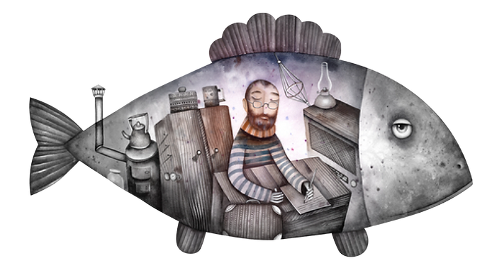 Web designer from Curious Fish Websites working inside a mechanical fish