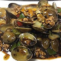 Small Clams with Black Bean Sauce w. Ground Pork 豉汁炒蜆
