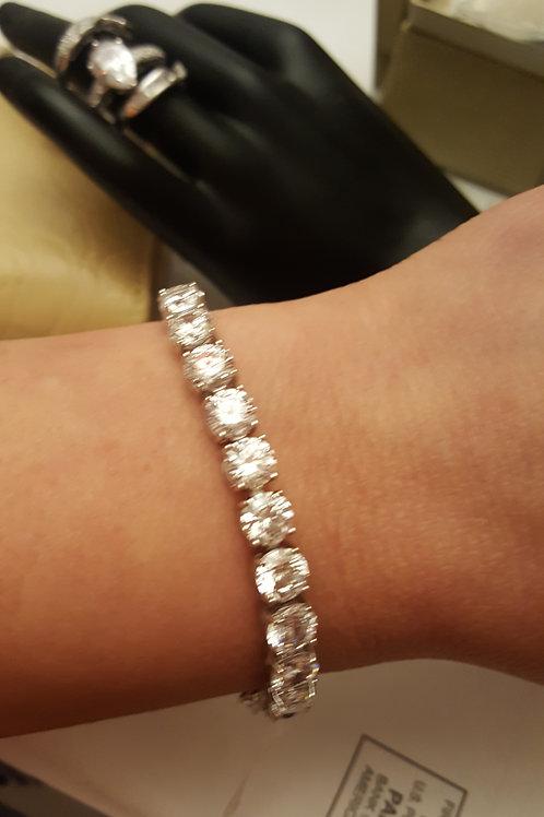 Diamond Simulant Round Sterling Silver Tennis Bracelet