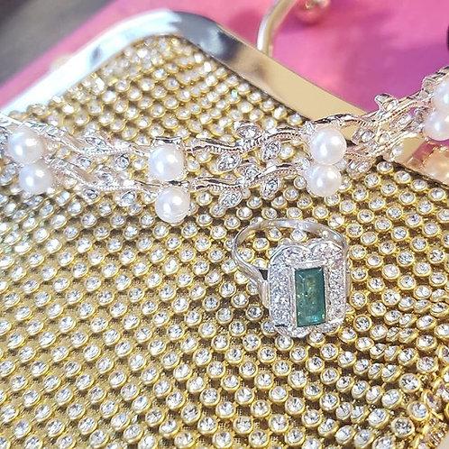 Fashion Gold Finish Rhinestones Evening Metallic Handbag Purse Cartera de Damas