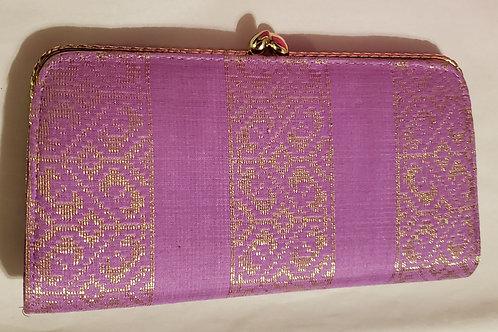 Fashion Purple Fabric Gold Thread Design Women Wallet