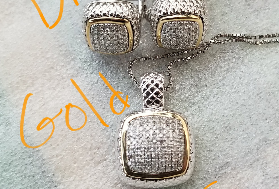 Alwand Vahen Silver & Yellow Gold Diamond Necklace with Earrings