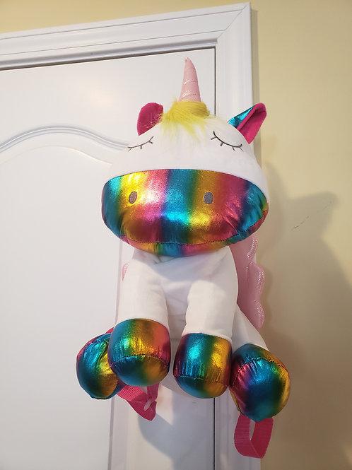 Rainbow White Unicorn with Wings Stuffed Toy Backpack Unicorn Bag Unisex