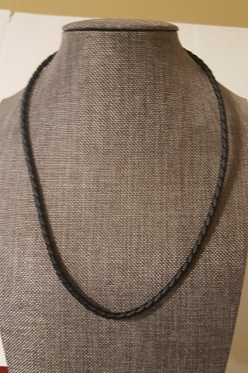 Black Leather Sterling Silver Clasp Necklace