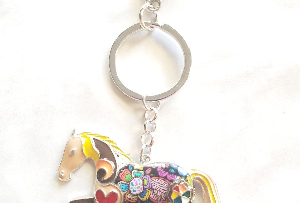 Multicolor Enamel Horse  Key Chain Bag Charm Pendant Brooch for Horse Lovers