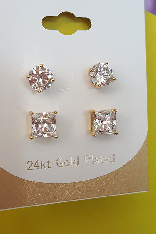 24KT Gold Plated Earrings/2 Pairs/CZ