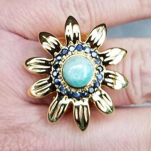Genuine Amazonite 18K Yellow Gold Over Bronze Ring US 8