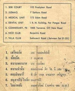 Important Bangkok addresses.