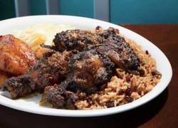 Jerked Chicken, Rice & Peas and Plaintain