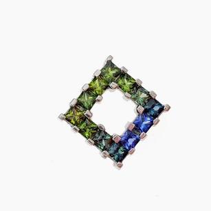 SP049 SILVER PRINCESS CUT BLUE GREEN SAPPHIRE