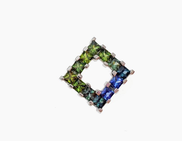 SP049 SILVER PRINCESS CUT BLUE GREEN SAPPHIRE