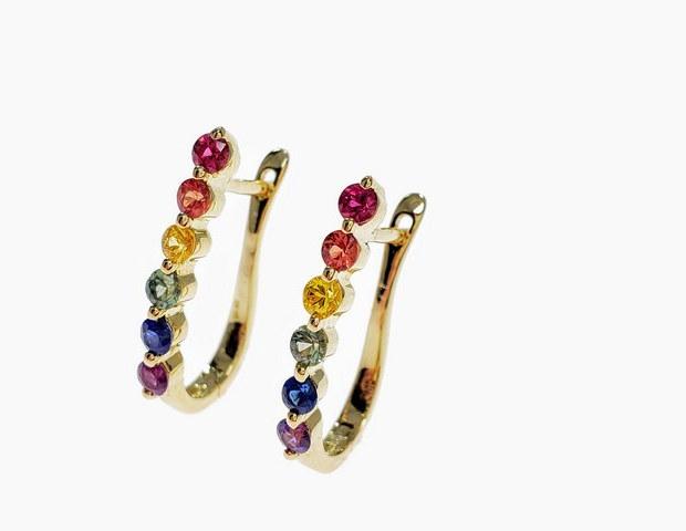 PE001 - 14KY DIAMOND CUT RAINBOW SAPPHIRE