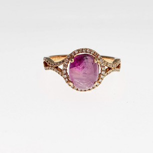 PRD05 - 14KR OVAL CABOCHON PINK SAPPHIRE