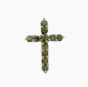 SP016 SILVER DIAMOND CUT GREEN SAPPHIRE