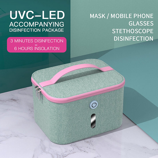 UV-C 16 LED Sterilizing Carrier with Voice Alert - Light Blue