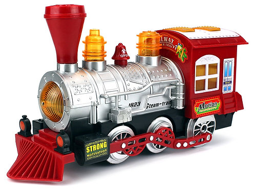 Velocity Toys Steam Train Locomotive Engine Car Bubble Blowing Bump & Go Battery