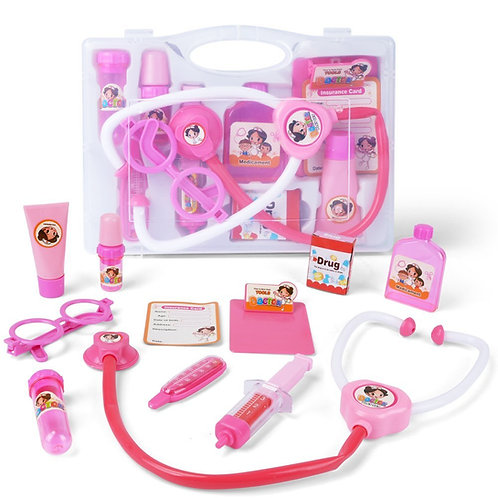 10pcs Pink Doctor Kit Pretend and Play Medical Toys Set with Carry Case