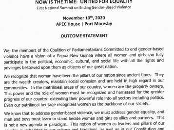 Parliamentary Coalition Against GBV endorses Outcomes Statement setting out their priorities