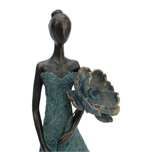 Rose - Girl Holding Flower in Front Sculpture