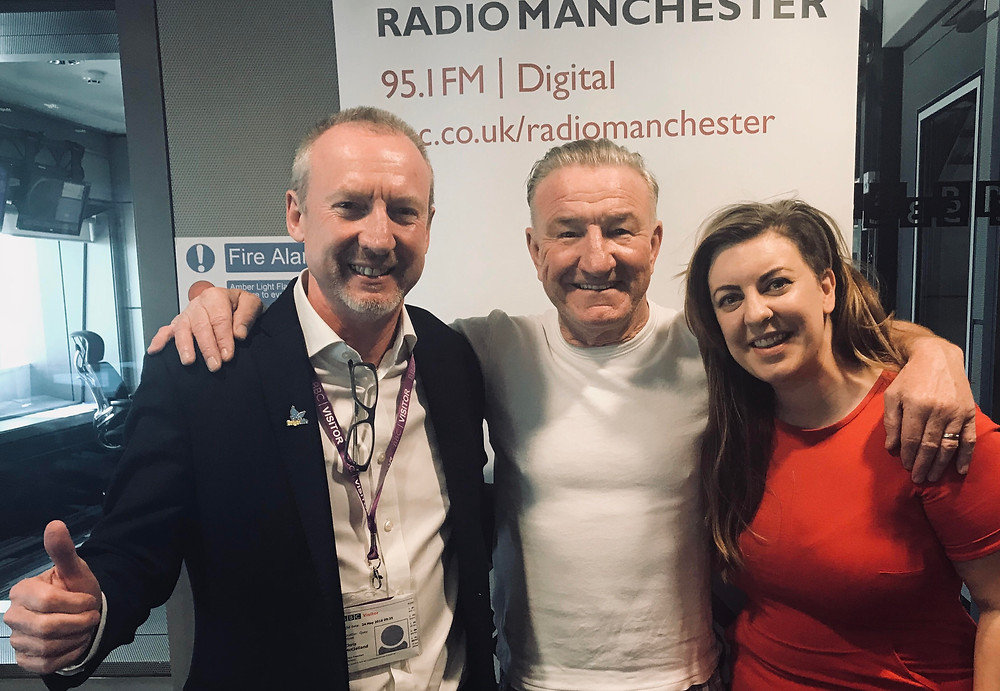 Chris McClelland (Head of Brightlife/Age Uk Cheshire), Mike Sweeney (Presenter at BBC Radio Manchester) & Clare Freeman (Presenter/Producer of Discover Brightlife podcast)