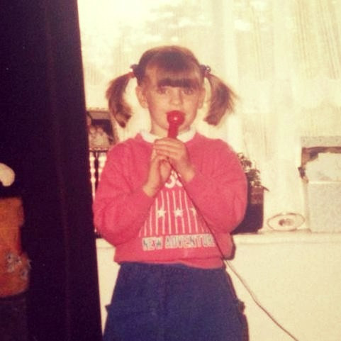 Me aged 4, born to work with microphones... !