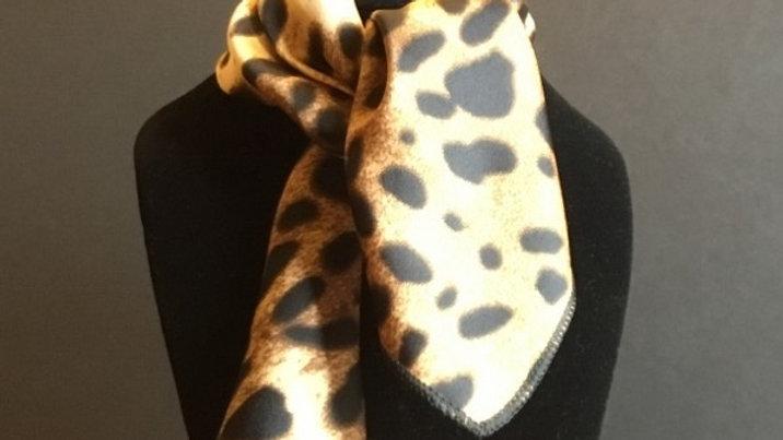 Deep Black and Buckskin Leopard Print Show Scarf