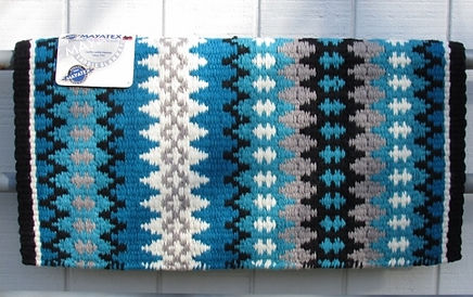 Nova 1455-5 Turquoise Gray Grey Show Saddle Blanket Mayatex.jpg