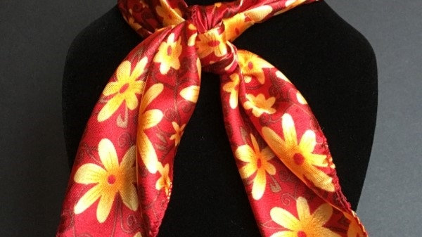 Show Red and Buttercup Flower Scarf