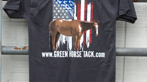 www.GreenHorseTack.com Cross and Flag T-Shirt