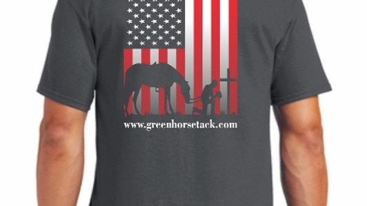 Green Horse Tack Gray Flag T-Shirt