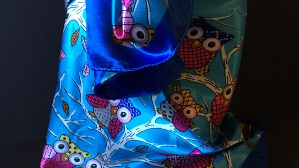 Turquoise and Royal Blue Owl Wild Rag