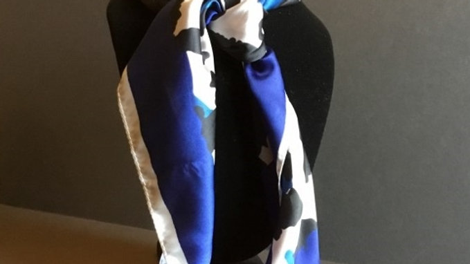Royal Blue Leopard Print Show Scarf