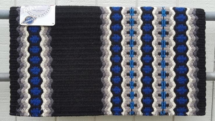 Canyon Land 1457-3 Black base Royal Blue and Gray pattern Western Show Blanket Pad Mayatex grey