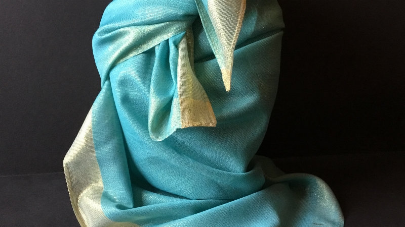 Soft Turquoise and Gold Metallic Shimmer Wild Rag