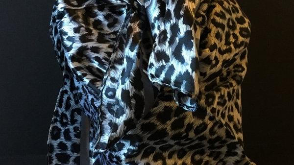 Ash Gray Leopard print Wild Rag
