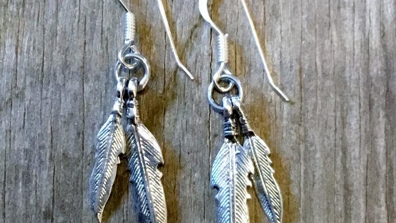 Silver Double Feather Dangle Earrings