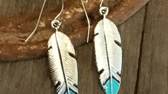 Turquoise Tipped Feather Earrings
